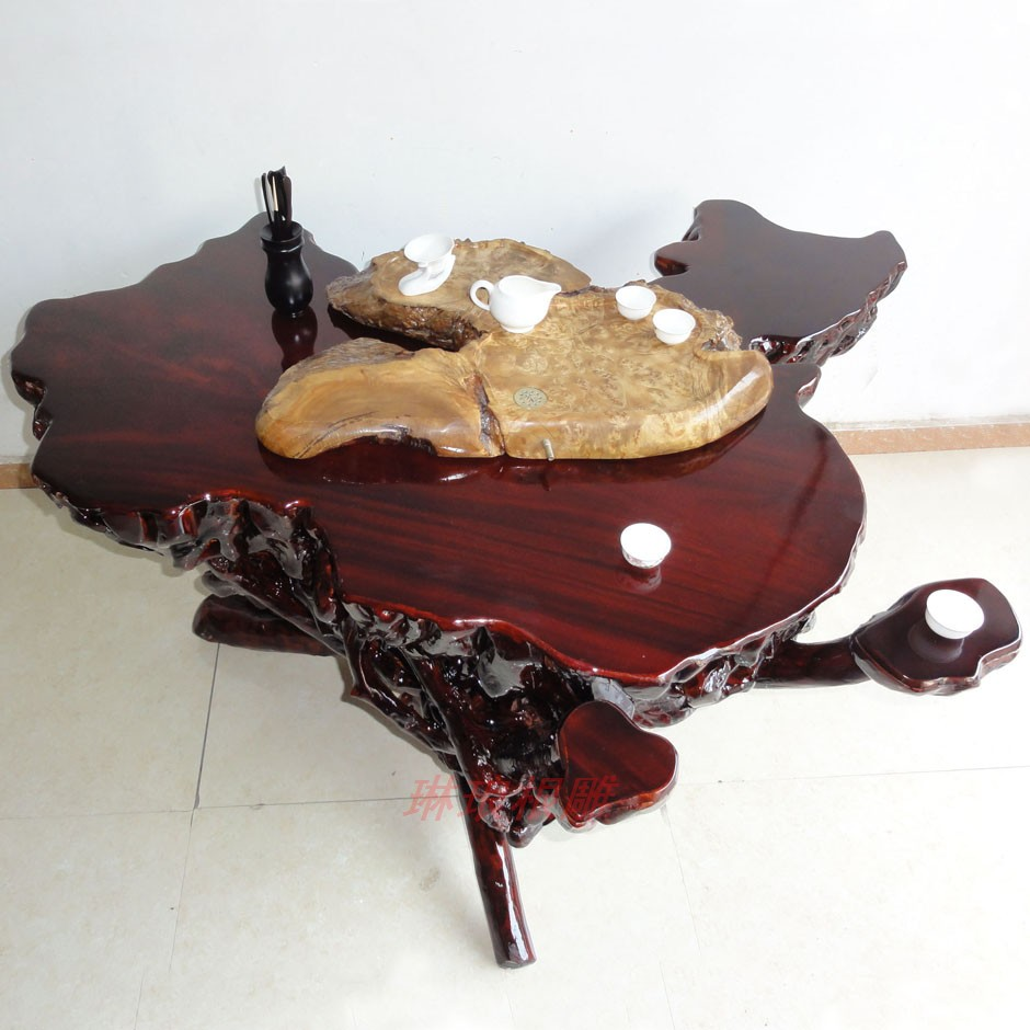 根雕树根艺术实木茶桌五件套餐桌杜鹃根咖啡桌功夫茶艺用品热销