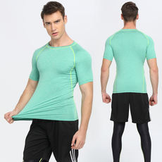 Athletic quick-drying T-shirt men's basketball sweat-absorbent breathable base coat gym half-sleeved tight-fitting short-sleeved thin section of the fitness clothing