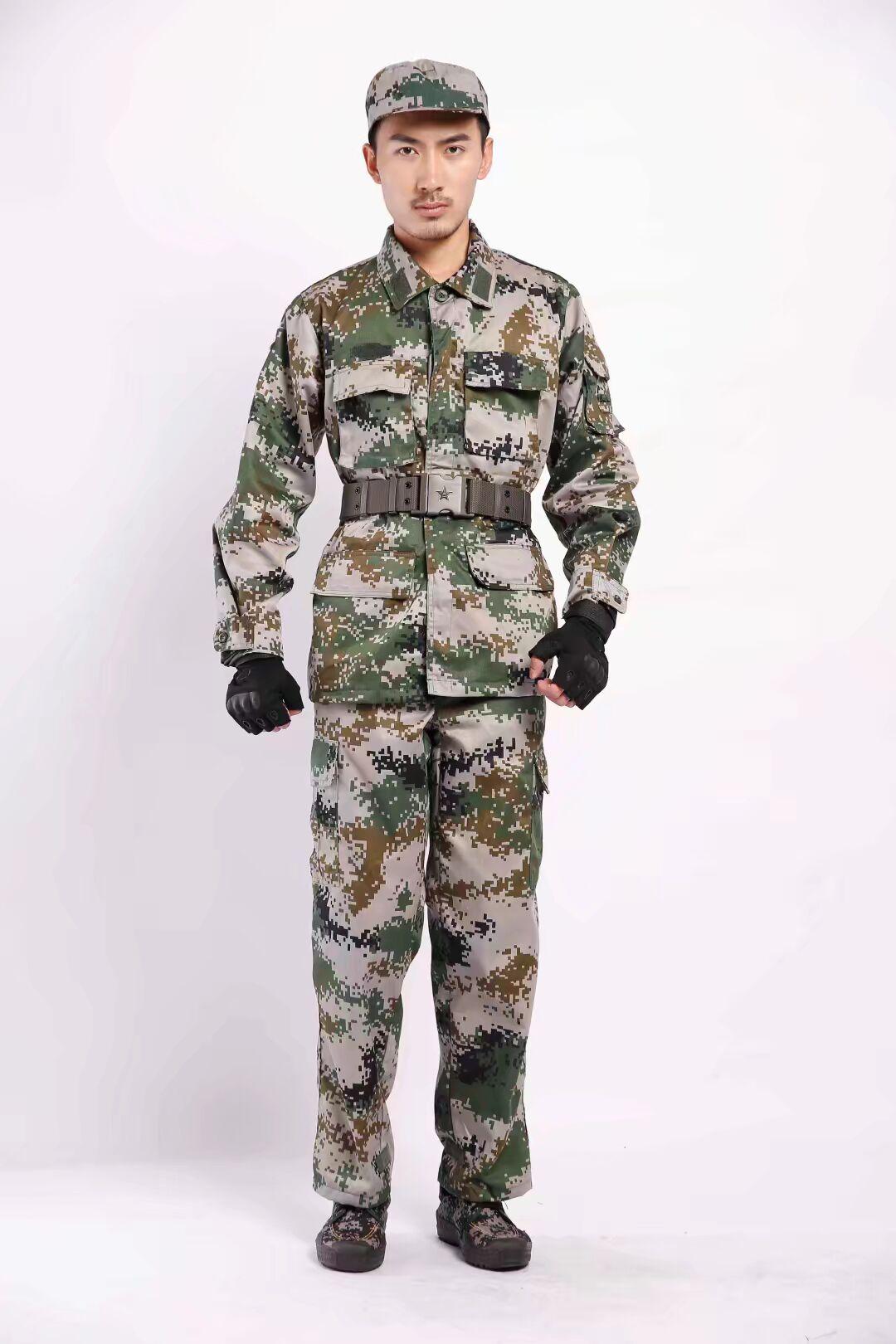 07陆款丛林迷彩服冬季长袖套装通用数码迷彩军训训练服作训服