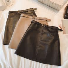 Haining leather skirt fashion Korean version of the high waist was thin a word package hip skirt 2018 autumn new women's wild
