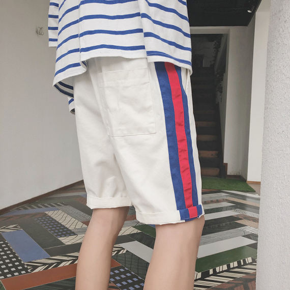@港仔文艺男 Korean version of the trend of five points casual pants thin section loose shorts summer students wild beach pants