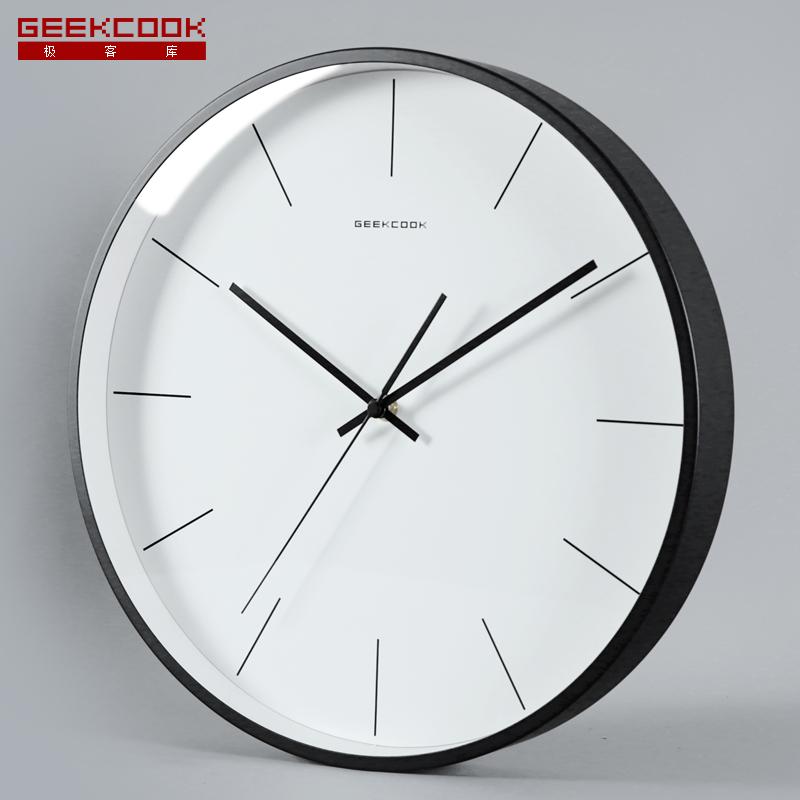geekcook北欧石英钟表简约现代时钟卧室家用挂钟静音客厅时尚挂表