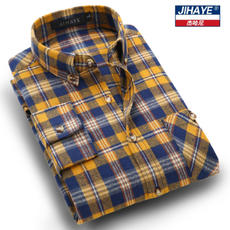 Jiehani spring and autumn shirt cotton plaid male shirt long-sleeved sanded shirt Slim casual business large size men