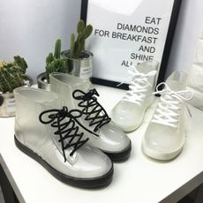 Korea ulzzang Harajuku style transparent rain boots water shoes students wild round head lace short boots Martin boots women's shoes