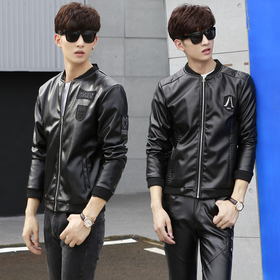 Autumn and winter new leather jacket male Korean version of the trend of self-cultivation handsome young thin leather jacket collar collar motorcycle men's outerwear