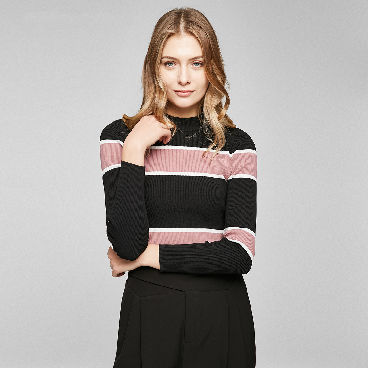 Vero Moda 螺纹圆领撞色条纹修身版型款针织衫|317124544
