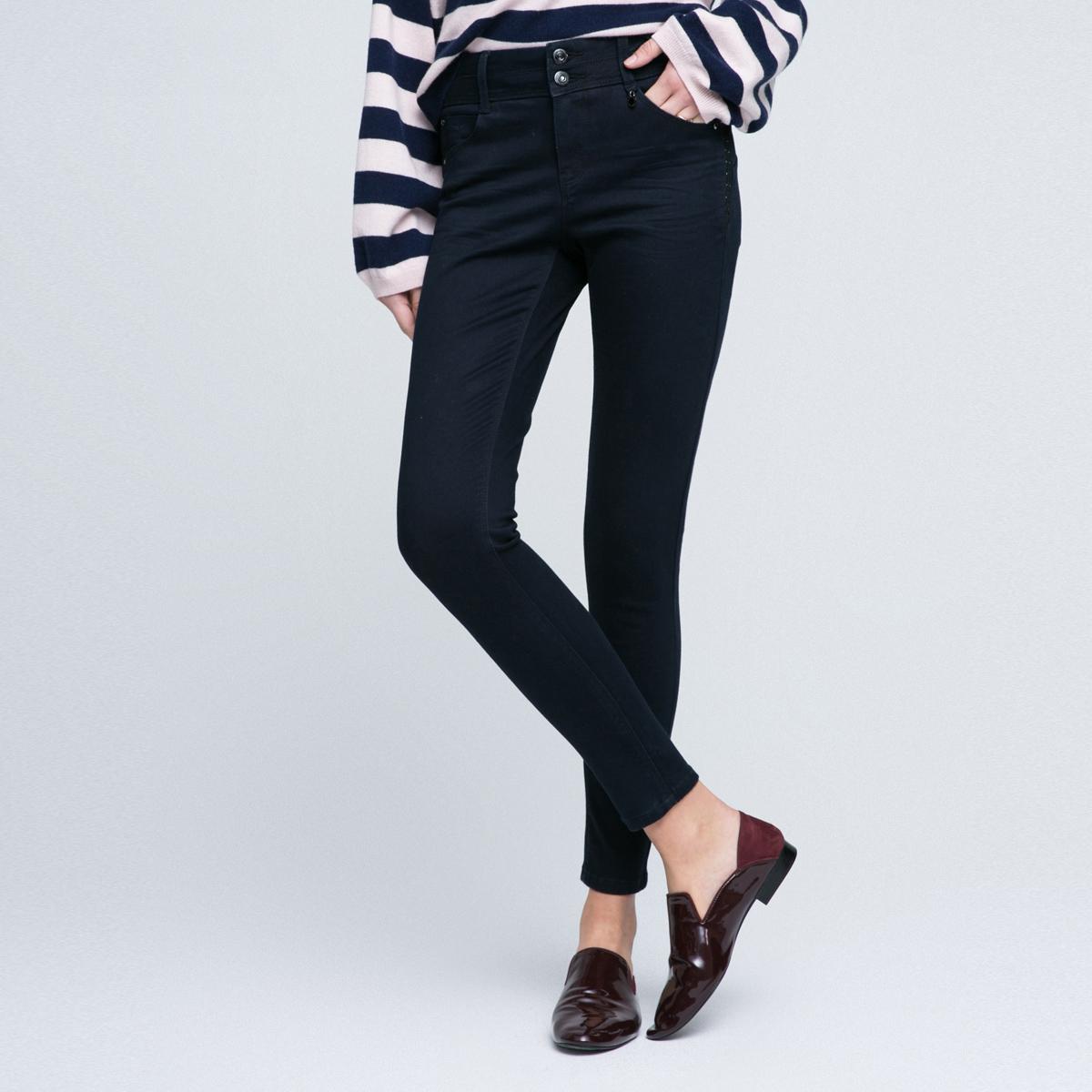 ONLY2018年新品休闲纯色修身中腰修身长款牛仔裤女|117132501