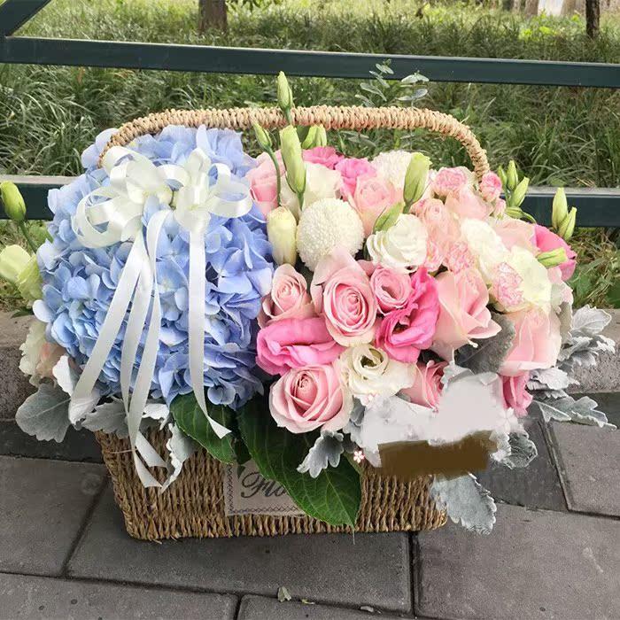 欧式绣球玫瑰百合鲜花花蓝情人节送领导生日北京上海广州同城速递图片