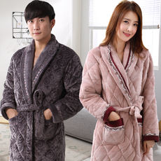Nightgown female winter thick long men's pajamas plus fertilizer XL middle-aged warm coral velvet quilted winter
