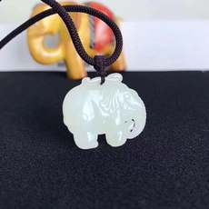 Hetian jade elephant pendant, auspicious wish size 34*29 thickness 7mm, with national certificate