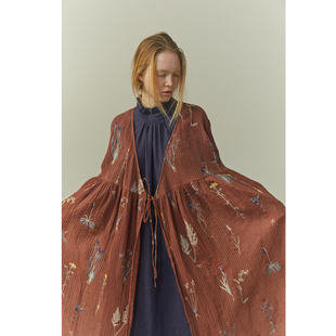 豆屋制衣 改良日式和风复古刺绣绑带大摆度假防晒仙女裙连衣裙