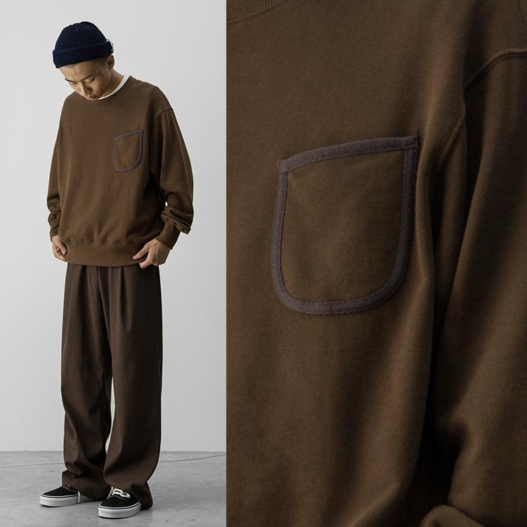 哭喊中心秋冬必备浓棕色复古口袋舒适圆领卫衣Brown sweater