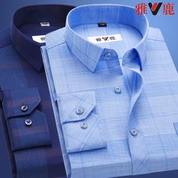 雅鹿全棉长袖父亲衬衫中老年人纯棉商务休闲格子爸爸男士免烫衬衣