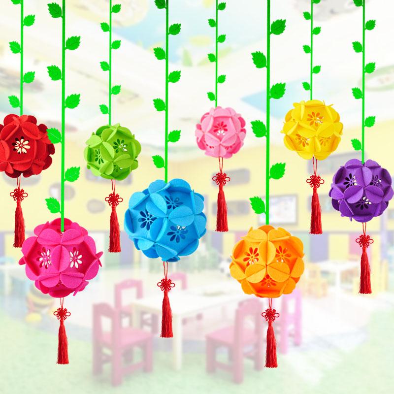 花球吊饰幼儿园手工无纺布吊饰小花球吊花球中庭装饰民族风布置