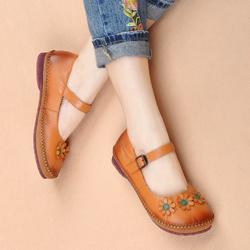 18春秋复古民族风手工鞋真皮软底舒适大头鞋中老年妈妈牛皮女单鞋