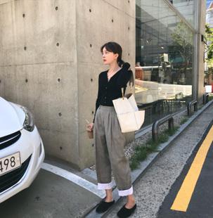 YUYEE 拼色格子萝卜裤女秋季2018新款学生韩版宽松直筒裤子潮
