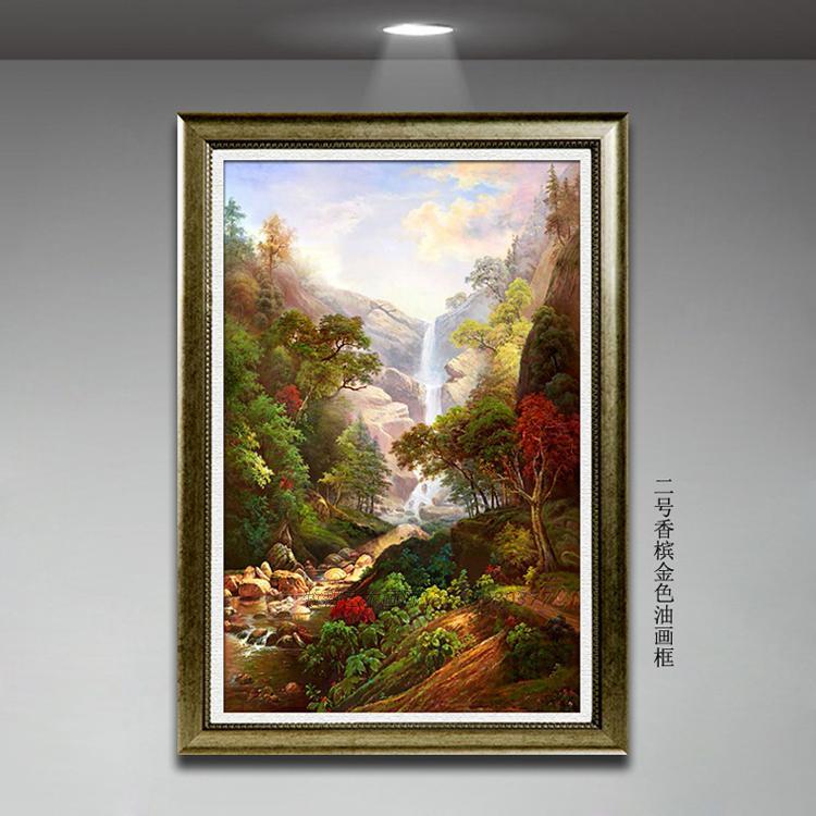 纯手绘欧式风景油画 装饰画 客厅玄关书房挂画 竖式画 瀑布油画
