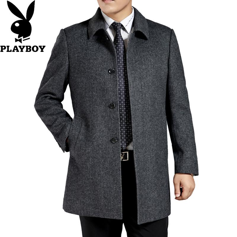 高档秋冬花花公子男装长款羊绒加厚毛呢子大衣中老年男士风衣外套