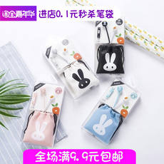 Creative tide in-ear headphones girl Korean version of the cute cartoon personality universal student mini cable to send storage bag