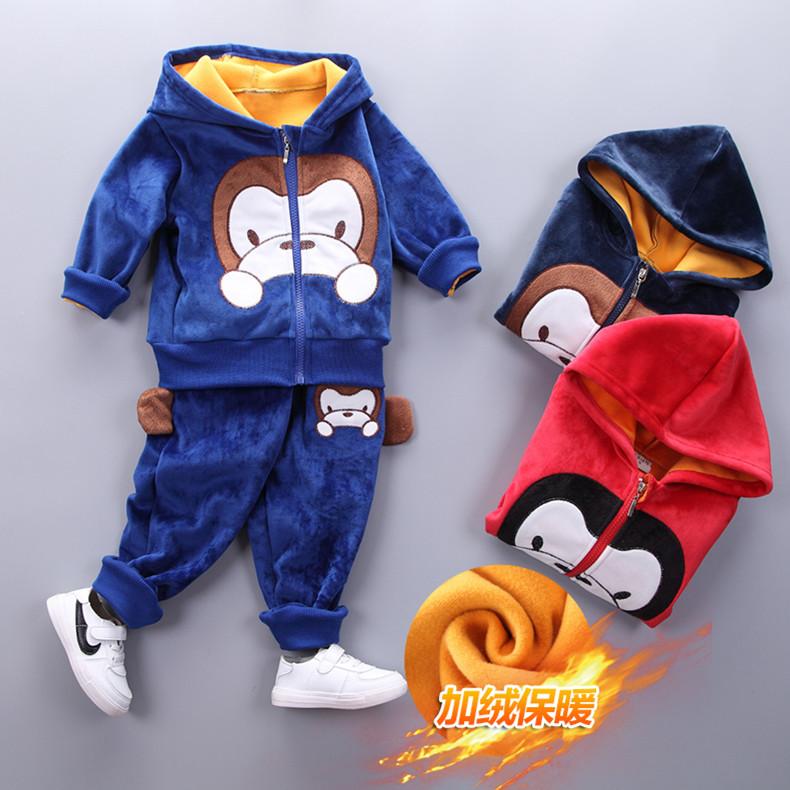 儿童双面绒冬装套装1 -3岁宝宝加绒套装男童两件套2018新款女秋冬