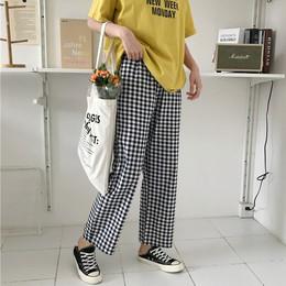 夏季2018新款韩版chic复古高腰宽松显瘦格子九分裤阔腿裤长裤女装