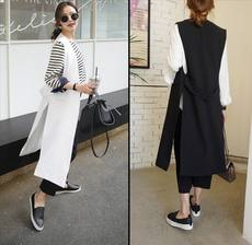 Vest women summer long section Korean version of the thin section large size fat MM was thin sleeveless side split belt without collar knee suit