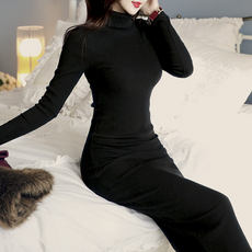 High-neck long sweater female over-the-knee sweater skirt autumn and winter pullover shirt Korean version of the tight-fitting long-sleeved knit dress