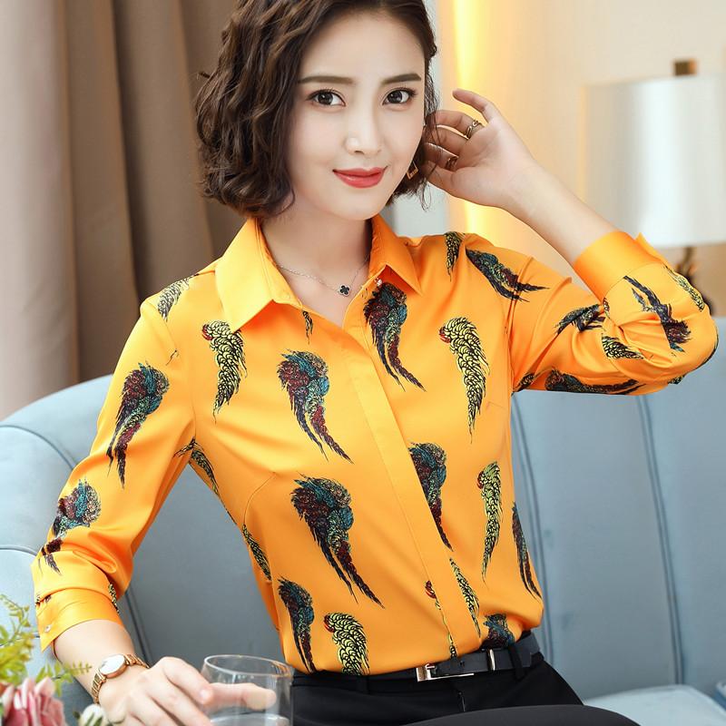 复古印花女衬衫2018秋季新品韩范女士长袖花色衬衣大码修身上衣