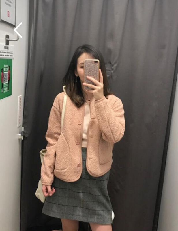 2018秋季新款舒适百搭摇粒绒无领长袖泰迪毛夹克短外套女M408760