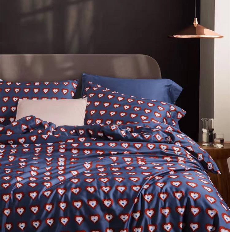 蔚澜LH60长绒棉贡缎全棉四件套纯棉美式床品印花被套纯色被单
