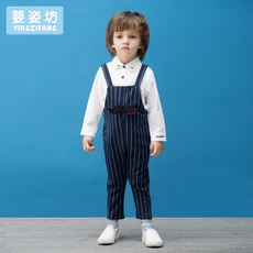 Children's autumn new boys fashion casual striped two-piece suit children's bib long-sleeved shirt suit tide