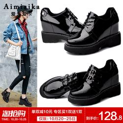 秋季内增高女鞋子单鞋坡跟厚底松糕百搭皮鞋2018新款韩版英伦10cm