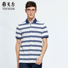 Youngor/Youngor Summer Men's Business Casual POLO Short Sleeve Men's Cotton Striped T-Shirt Male 8592