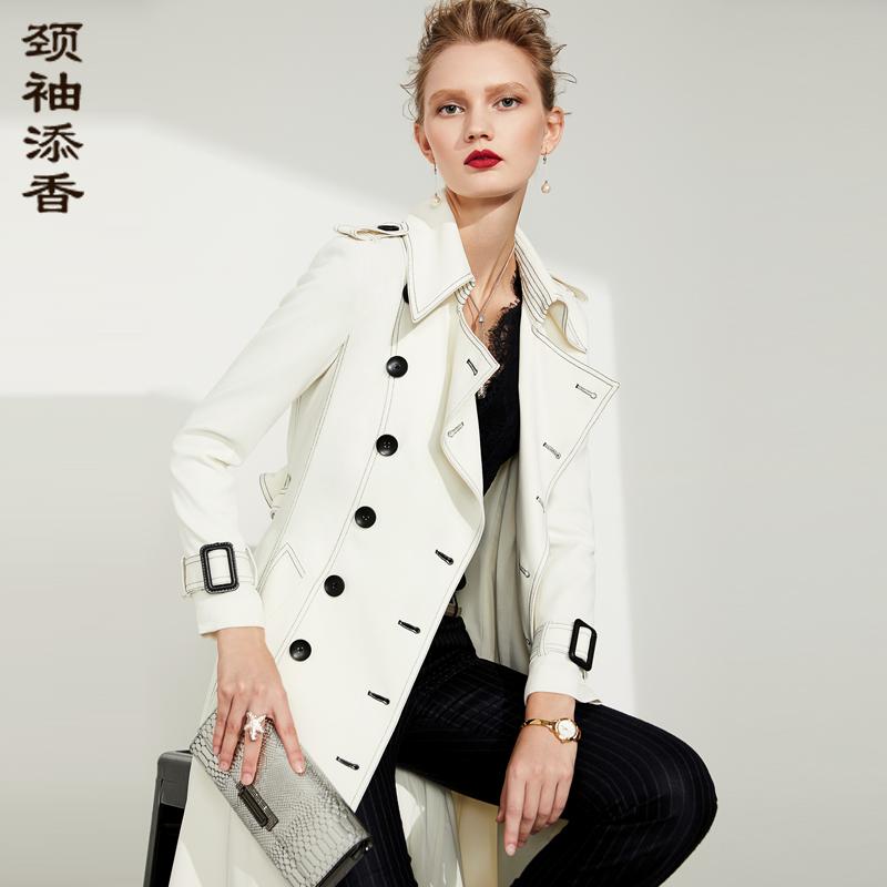 颈袖添香2019春装新款时尚修身过膝白色双排扣外套风衣女装中长款