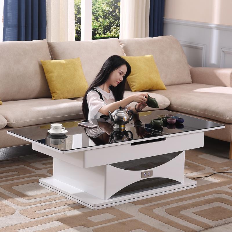 多功能电磁炉茶几可变餐桌两用电动升降折叠客厅伸缩遥控茶几家具