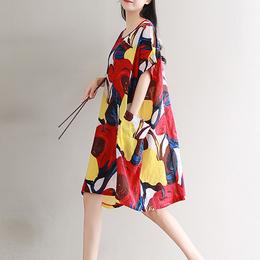 新款大码女装连衣裙民族风棉麻夏装宽松胖mm加肥200斤短袖中长裙