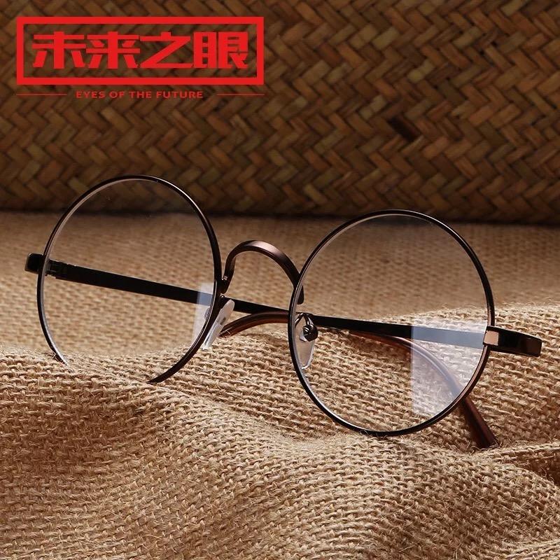 韩国ulzzang复古大圆框眼镜女生圆形平光眼镜无度数全框圆眼镜男