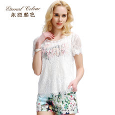 Eternal color summer dress new women's temperament slim printed lace shirt two-piece YFRB98S868