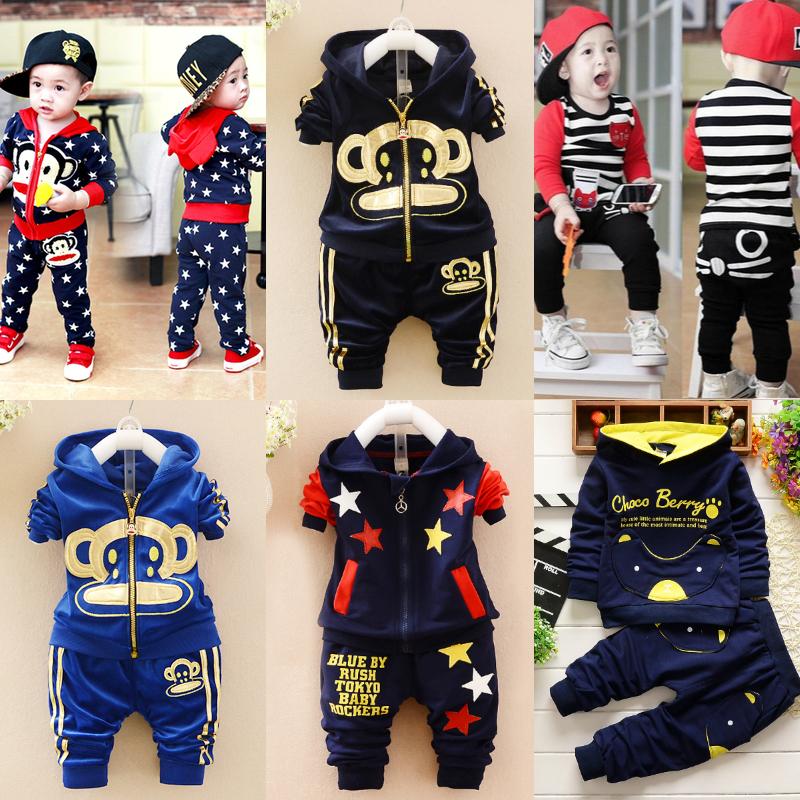 男童宝宝秋冬装0-1岁纯棉衣2婴幼儿冬季卫衣加绒加厚3套装4潮童装