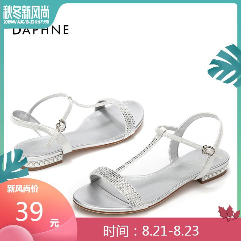 Daphne/达芙妮2019夏凉鞋舒适珍珠低跟平跟优雅钻扣带凉鞋女