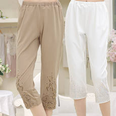 Middle-aged and older women's pants summer elastic waist pants middle-aged women thin section 7 points pants mother women's pants