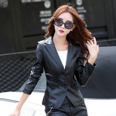 2018 spring new Haining leather female Korean Slim small suit leather jacket female short paragraph suit collar leather jacket
