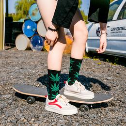 5双礼盒装 枫叶袜子女男欧美麻高长中筒袜潮牌韩国滑板袜椰子街头