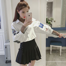 2018 autumn new fashion doll collar long-sleeved embroidery bow tie striped shirt Slim thin shirt
