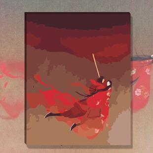 diy鲁班数字油画紫霞仙子至尊宝无脸卡通动漫手绘油彩装饰画包邮