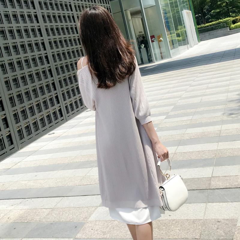 新品吊带V领白色开叉连衣裙 打底裙