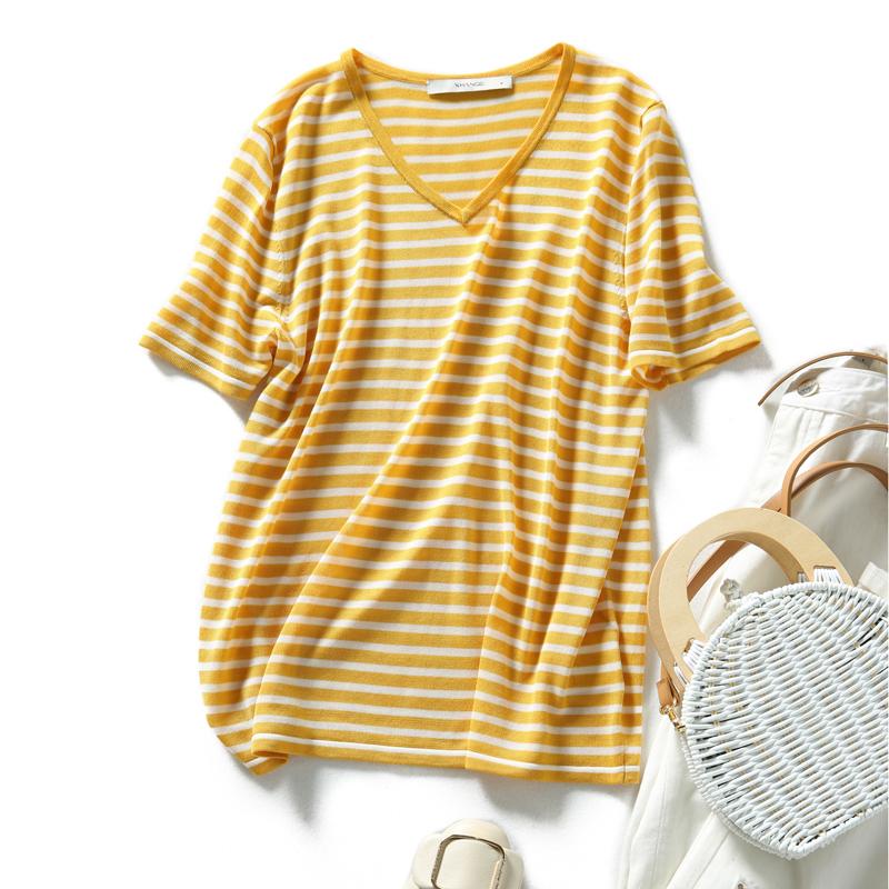 の[ZY258265MG]笑涵阁 经典永隽 实穿好搭 清爽海洋条纹 针织套衫