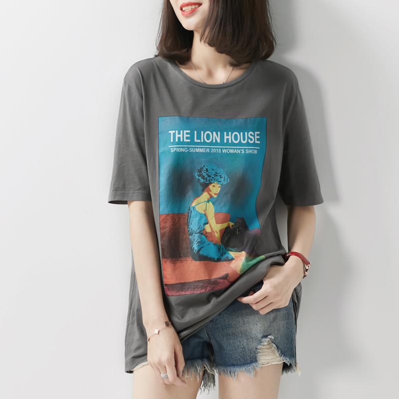 [TX192576MG]笑涵阁复古气息油画少女图案天然棉质圆领短袖T恤