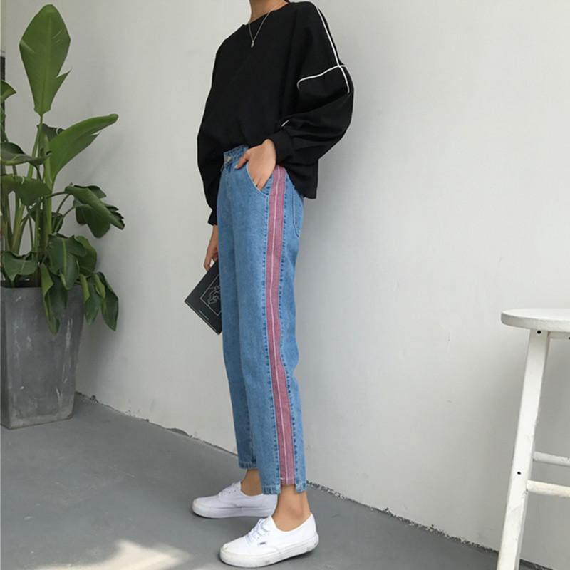 韩国ulzzang秋冬新款女装个性侧边装饰牛仔显瘦宽松直筒牛仔裤潮