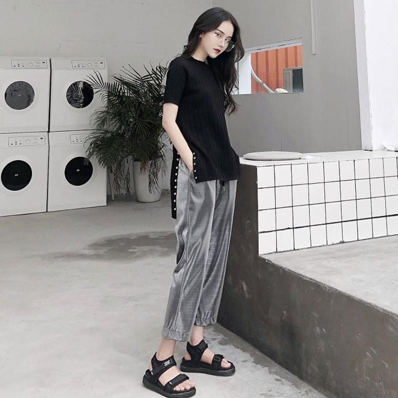 夏季铆钉针织黑色修身开叉上衣运动裤女休闲裤高腰阔腿裤两件套潮